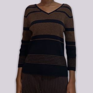 dark toned v neck knitted sweater from apostrophe